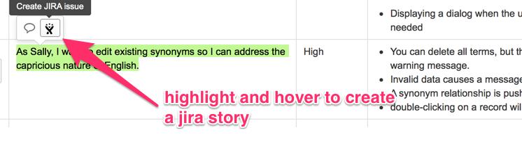 Highlight and hover to create a JIRA story